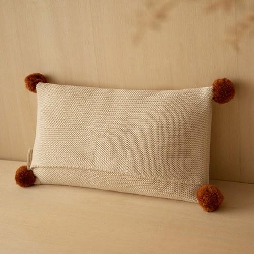 西班牙Nobodinoz 球球針織純棉靠枕 (自然米)
