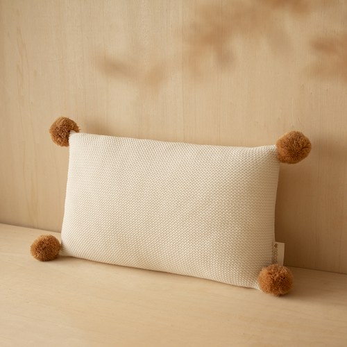 西班牙Nobodinoz 球球針織純棉靠枕 (牛奶白)