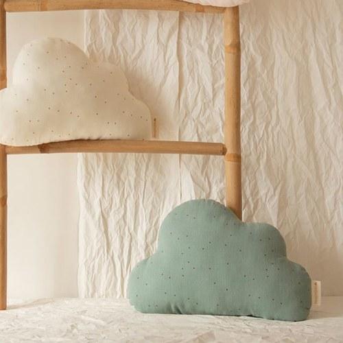 西班牙Nobodinoz有機棉 奶糖雲朵靠枕 (復古綠點點)