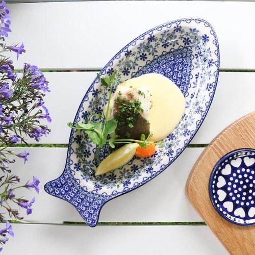 荷蘭BunzlauCastle 東方青花瓷圖紋魚型陶盤 (長30公分)