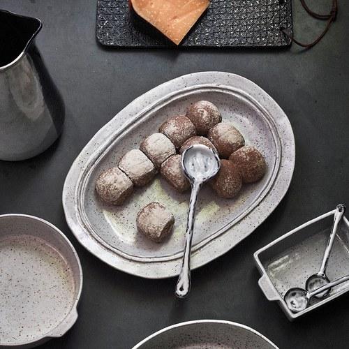 荷蘭HkLiving 仿舊陶瓷橢圓形餐盤