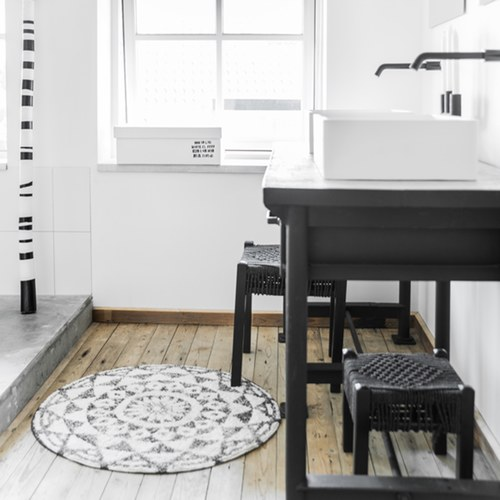 荷蘭 Hk Living 復刻歐風花磚圓形浴室防滑地墊(60cm)
