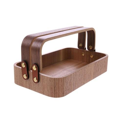 荷蘭HkLiving 日式木製雙把手收納提籃
