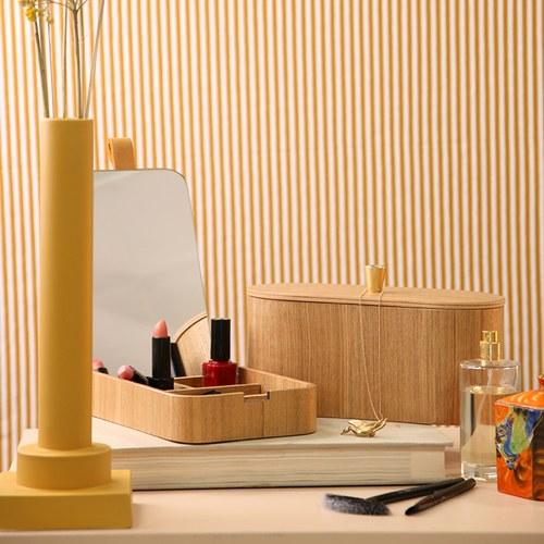 荷蘭HkLiving 日式木製把手收納儲物盒