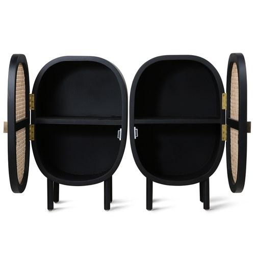 荷蘭HkLiving 藤編船艙造型床頭櫃組 (黑)