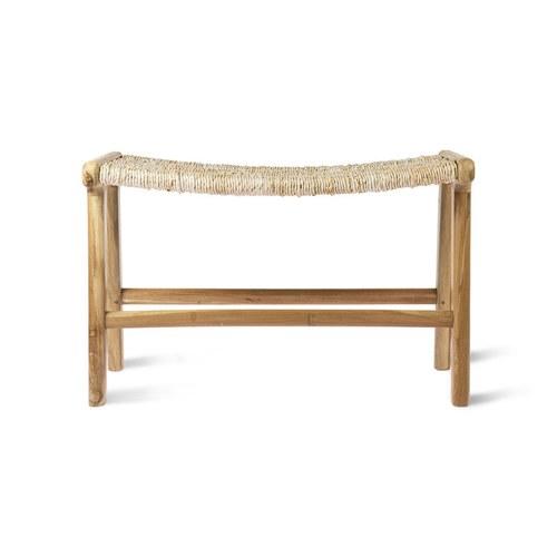 荷蘭HkLiving 微笑曲線藤編柚木椅凳