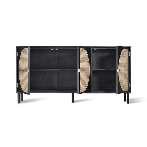 荷蘭HkLiving 半圓弧線藤編木質儲藏邊櫃(黑)