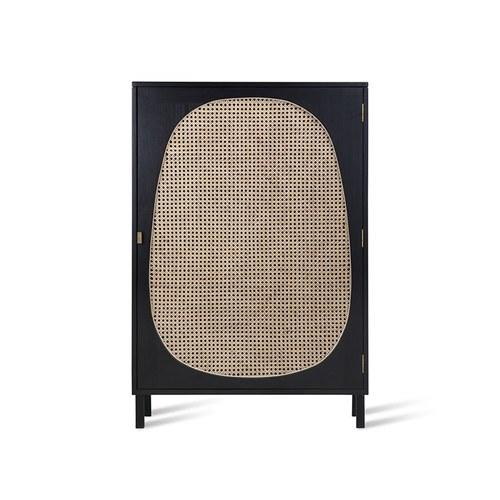 荷蘭HkLiving 藤編鵝卵石圓弧型木質高櫃(黑)