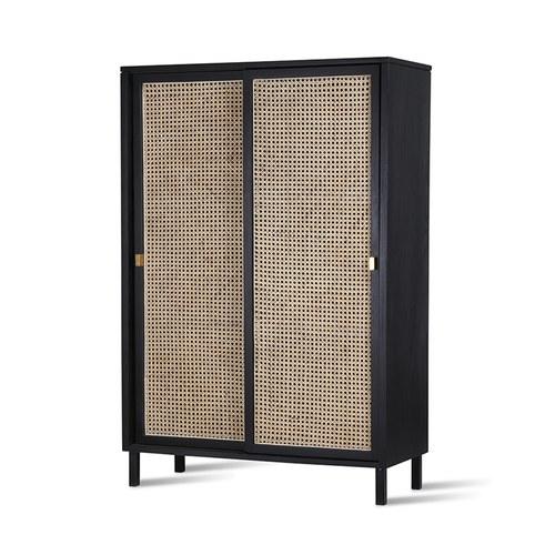 荷蘭HkLiving 藤編拉門式木質高櫃