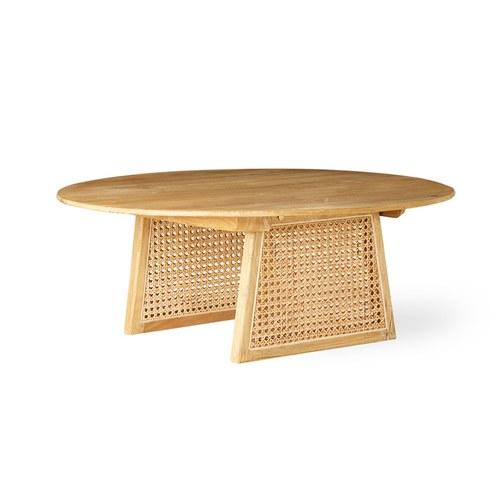 荷蘭HkLiving 夏日簍空藤編圓弧咖啡桌(直徑80公分)