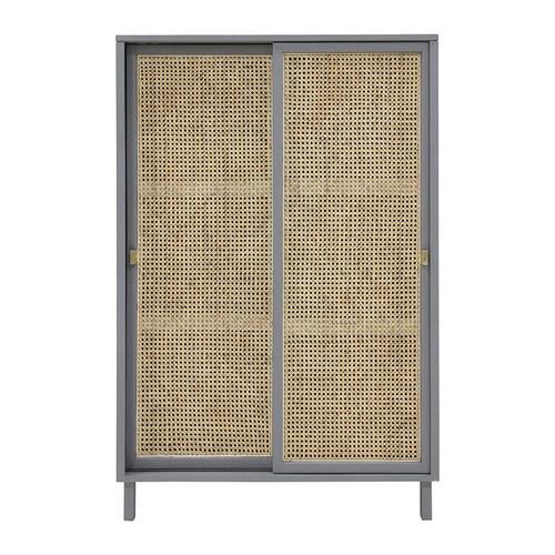 荷蘭HkLiving 藤編拉門式木質高櫃(灰)