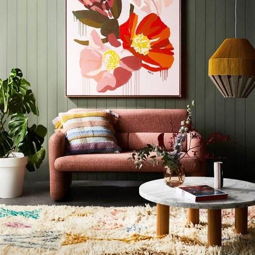 荷蘭HkLiving 粉嫩夏日設計感雙人沙發 (珊瑚紅)