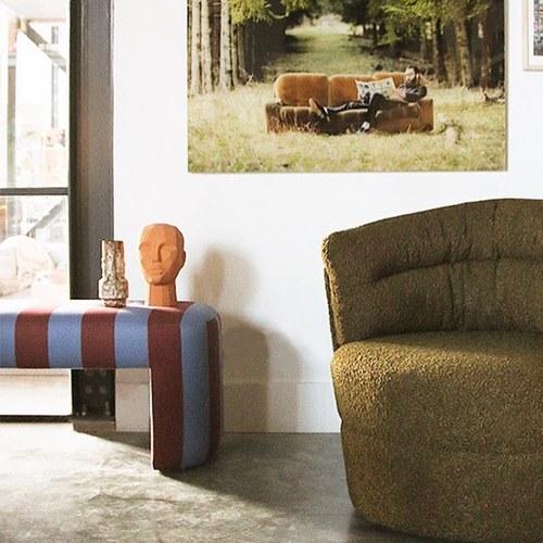 荷蘭HkLiving 條紋相間視覺長凳