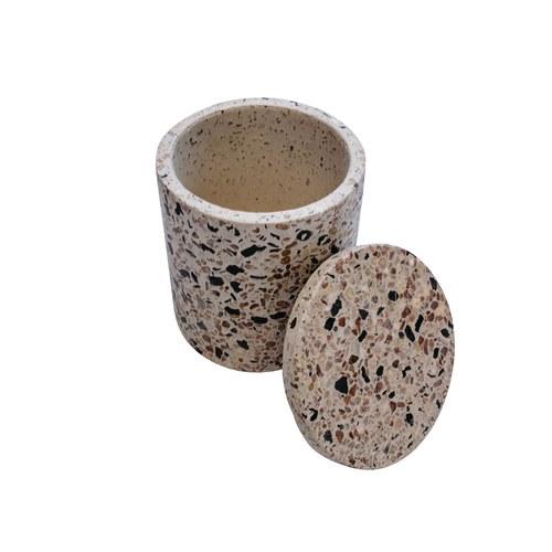 荷蘭HkLiving 漾彩水磨石附蓋收納罐
