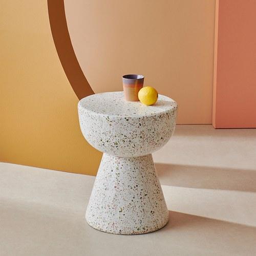 荷蘭HkLiving 漾彩水磨石臼型邊桌