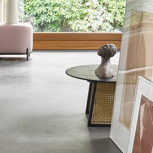 荷蘭HkLiving 夏日簍空藤編圓弧咖啡桌(直徑65公分)