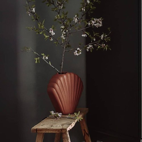 荷蘭 HkLiving 藝術貝殼造型花器 (棕、高18.2公分)