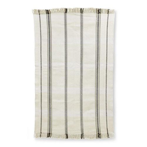 荷蘭 HkLiving 質感編織條紋桌巾 (白)