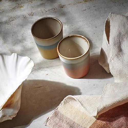 荷蘭 HkLiving 70年代寫意粉彩茶杯2入組