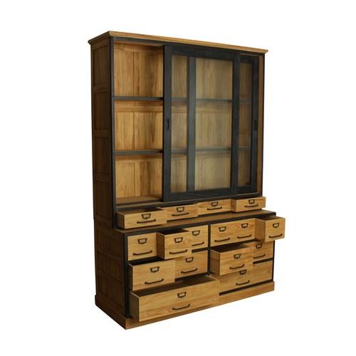 荷蘭OneWorld 古董木鐵件風櫥櫃