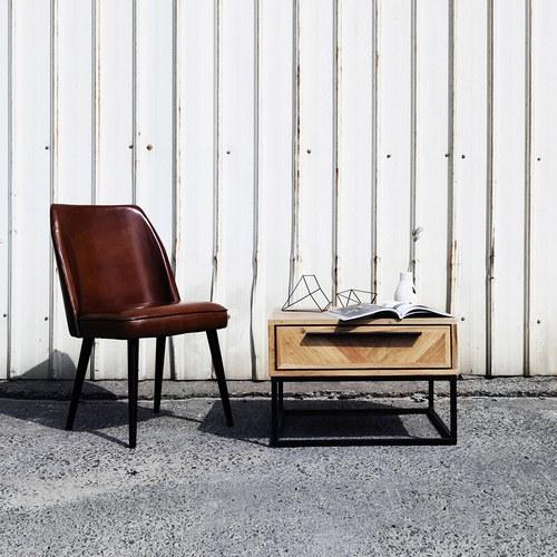 荷蘭PURE L型亮面真皮單人椅 (棕)