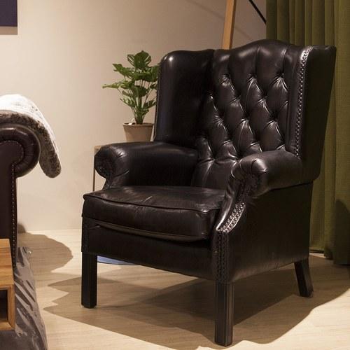 荷蘭PURE 復古縫釦皮革單人椅 (黑)