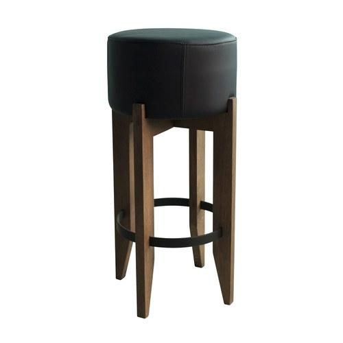 荷蘭PURE 圓形皮革吧台椅 (黑)