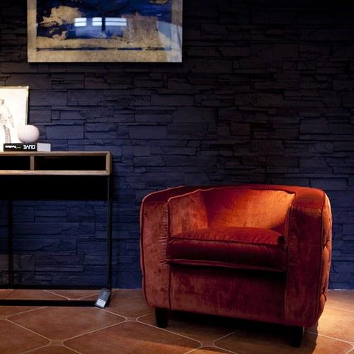 荷蘭PURE 切斯特菲爾德式布面單人沙發 (紅棕)