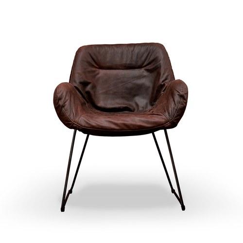 荷蘭PURE 萊卡亮面單人沙發椅 (紅褐)
