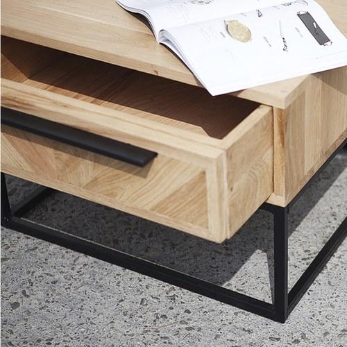 荷蘭PURE 工業風V字拼貼收納邊桌 (橡木)