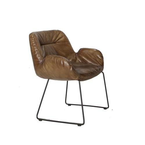 荷蘭PURE 萊卡亮面單人沙發椅 (深駝)