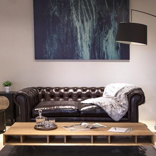 荷蘭PURE 切斯特菲爾德式皮革三人沙發 (棕)