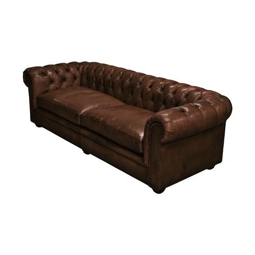 荷蘭PURE 切斯特菲爾德式皮革四人沙發 (棕)