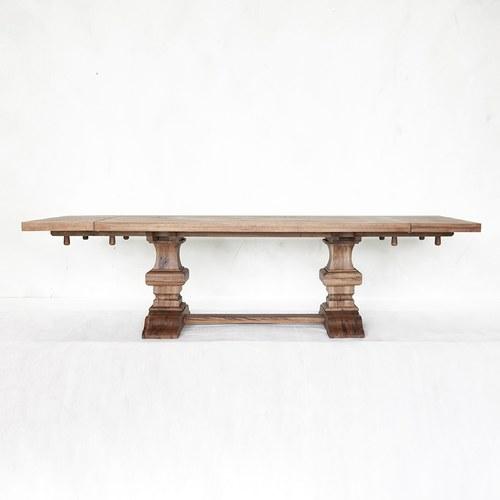 荷蘭PURE 雕刻造型桌腳可延伸餐廳方桌 (棕、長200~290公分)