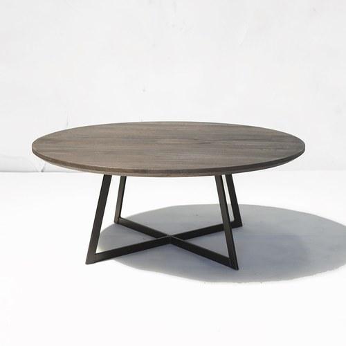荷蘭PURE 工業風橡木圓形咖啡桌 (深棕、直徑100公分)