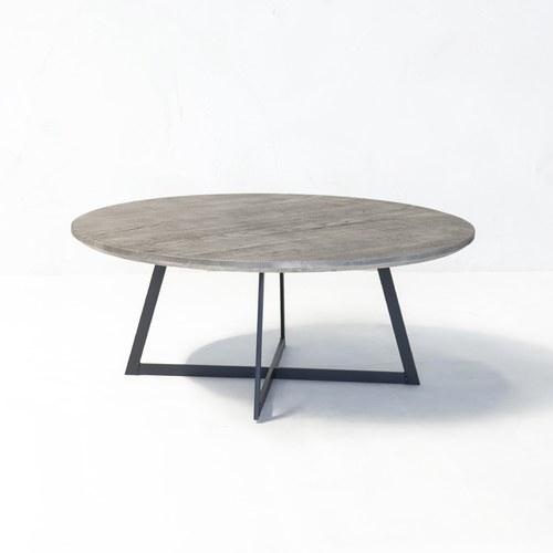 荷蘭PURE 工業風橡木圓形咖啡桌 (岩灰、直徑100公分)