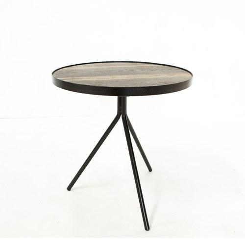 荷蘭PURE 極簡工業風圓形邊桌 (黑、直徑45公分)