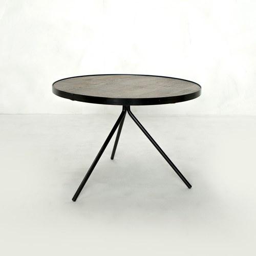 荷蘭PURE 極簡工業風圓形邊桌 (黑、直徑60公分)
