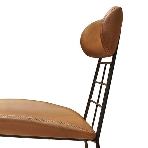 荷蘭PURE 工業風金屬框皮革單椅 (棕)