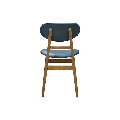 荷蘭PURE 原木斜桿造型皮革單椅 (藍)