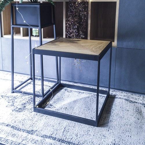 荷蘭PURE 金屬框方形邊桌 (黑、長40公分)