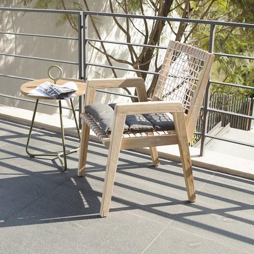 荷蘭Woven+戶外家具 繩編附墊單人扶手椅