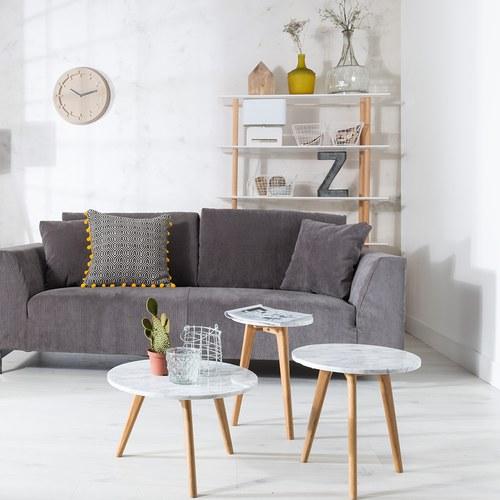 荷蘭Zuiver圓形白色大理石邊桌(直徑40公分)