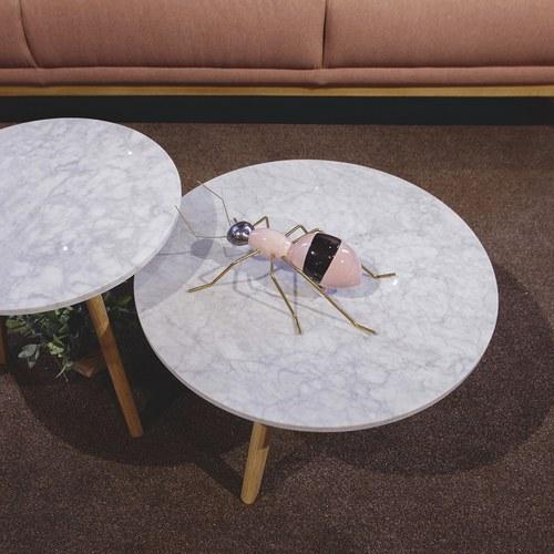 荷蘭Zuiver圓形白色大理石邊桌(直徑50公分)