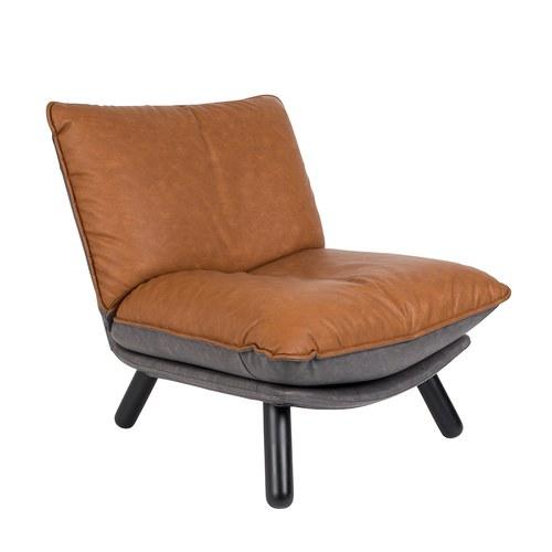 荷蘭Zuiver慵懶皮革休閒單椅(棕)