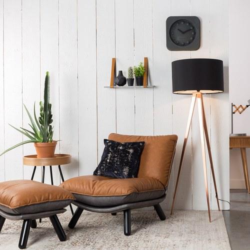 荷蘭Zuiver慵懶皮革休閒椅凳(棕)