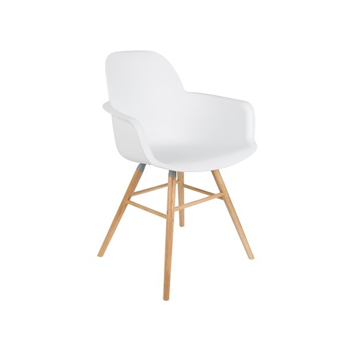 荷蘭Zuiver艾伯特簡約弧形扶手單椅(白)