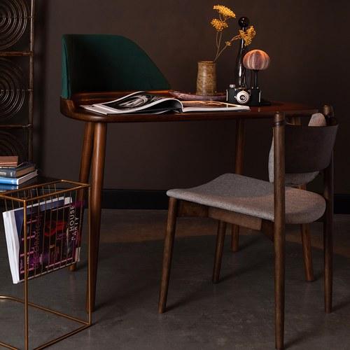 荷蘭Zuiver天鵝絨拼接木質邊桌
