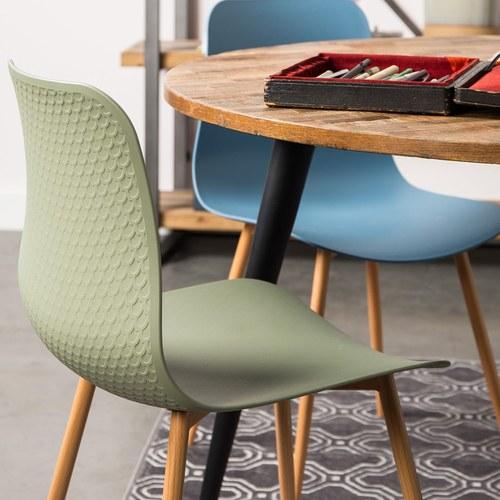 荷蘭Zuiver 刻花壓紋曲面單椅(綠)