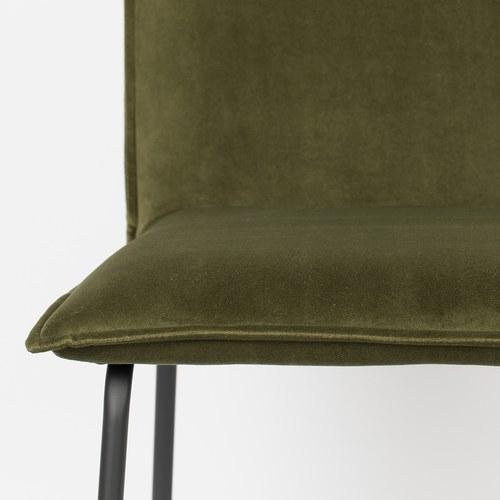 荷蘭Zuiver 優雅斜邊靠背絨布餐椅(橄欖綠)